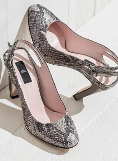 Elle Kalın Topuklu Ayakkabı Gümüş